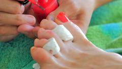 Pedicure, nail polish red Stock Footage