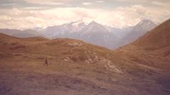 Running free in italian alps Stock Footage