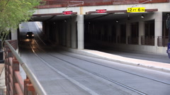 4K UHD Tucson streetcar underpass going in 4th Avenue Stock Footage
