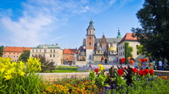 Summer view of Wawel Royal Castle complex in Krakow, Poland Stock Footage