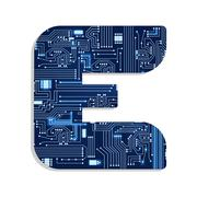 "letter ""e"" from technology's stylized alphabet - stock illustration"