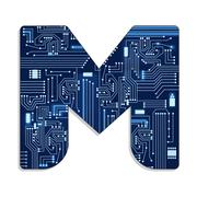 "Letter ""m"" from technology's stylized alphabet Stock Illustration"