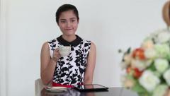 Asian Women Drinking Coffee In Cafe - stock footage