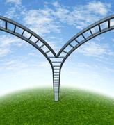 corporate ladder decisions - stock illustration