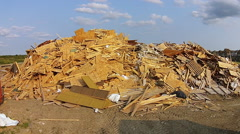 Building Construction Waste Wood Garbage Dump Stock Footage