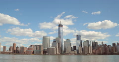 New York City downtown skyline WTC Freedom Tower time-lapse 4k Stock Footage