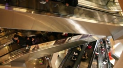 People use the escalator in Langham Place mall, Mong Kok Stock Footage