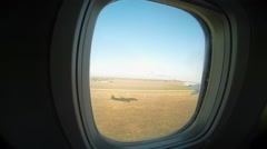 View from the porthole windows on the plane 3 Stock Footage