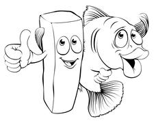 fish and chips characters - stock illustration