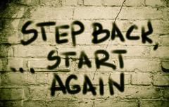 step back start again concept - stock illustration