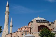dome and minarets of hagia sophia - stock photo