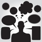 clipart of man with speech bubbles. vector - stock illustration