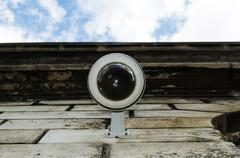 hi-tech dome type camera - stock photo