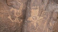 Native American's Boca Negra Canyon prehistoric petroglyph of a space ship Stock Footage