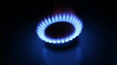 Flame from the burner of a gas stove Stock Footage