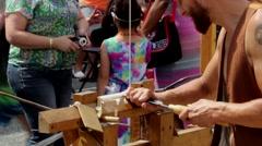 Pole lathe turning demonstration. Stock Footage