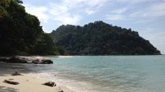 View of beach at Lalang Island, Lumut, Perak, Malaysia, loop Stock Footage