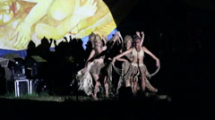 Lady dancers at the Tapati festival in the evening at the Easter Island Stock Footage