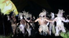 Men dancers at the Tapati festival in the evening at the Easter Island Stock Footage