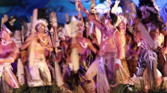 Pan from Dancers at the Tapati festival in the evening Stock Footage