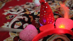 Holiday Heart Pink Twinkle With New Year's Cap Stock Footage