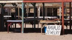 Navajo Jewelry roadside stand Stock Footage