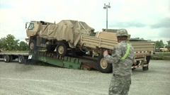 Camp Atterbury truck lorry vehicle Marshaling Yard Stock Footage