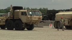 Camp Atterbury truck lorry vehicle Marshaling Yard - stock footage