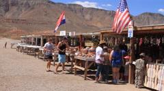 Navajo artwork roadside vendor stands Stock Footage