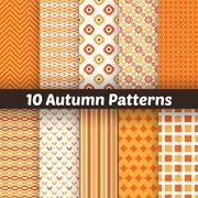 Autumn vector seamless patterns. Endless texture for wallpape Stock Illustration