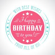 Happy birthday card. Typography letters font type. Vector Stock Illustration