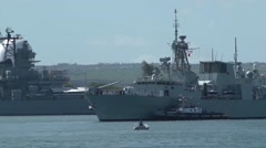 Royal Canadian Navy's frigate  Calgary leaves Pearl Harbor Stock Footage