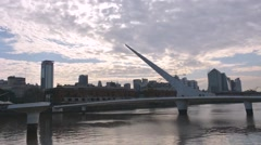 Tourist bridge Puerto Madero Time Lapse Stock Footage