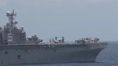 USS Bataan (LHD-5)  Wasp-class amphibious assault ship RIMPAC 2014 Stock Footage