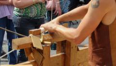 Pole lathe turning demonstration 3 Stock Footage