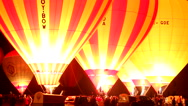 Stock Video Footage of Huge night glow with Hot Air Balloons