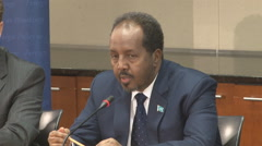 6 of 13  - Somalian President discusses democracy   Stock Footage