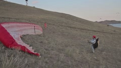Paraglider started, ridge soaring, ridge lift, in Koktebel Crimea10 Stock Footage