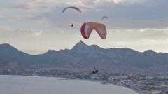 Paragliders ridge soaring, ridge lift, in Koktebel Crimea12 Stock Footage