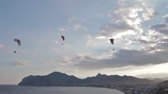 Paragliders ridge soaring, ridge lift, in Koktebel Crimea15 Stock Footage