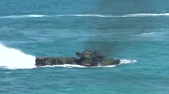 Assault Amphibious Vehicles AAV Amphibious assault, RIMPAC 2014 - stock footage