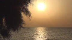 Landscape with sunset on seashore, afternoon in Greece. Stock Footage