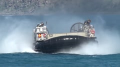 Landing Craft Air Cushion (LCAC) hovercraft Amphibious assault, RIMPAC 2014 Stock Footage