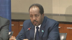 4 of 13  - Somalian President discusses building his country's military  Stock Footage