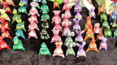 Open Fair Folk. Toys made of clay. Stock Footage