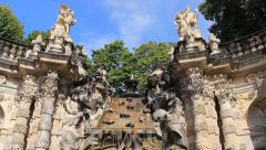 Dresden, Germany. Fountain in Zwinger palace Stock Footage