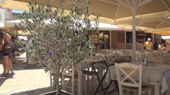 Restaurant in the middle of port, Ionian Island. Small olive tree in restaurant. Stock Footage