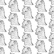 seamless pattern of alpaca - stock illustration