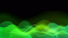 Green waves on the black. Abstract animation Full HD resolution. Seamless loop. - stock footage