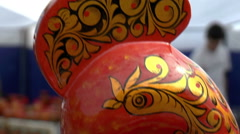 Open Fair Folk. Wooden painted swan. Stock Footage